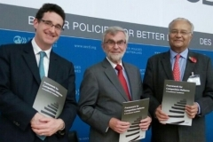 John Davies, Fred Jenny and Pradeep S Mehta releasing the CUTS Framework on Competition Reforms at Paris on October 29, 2015