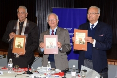 L-R:  Yashwant Sinha, Arun Maira and Pradeep S Mehta releasing CUTS' Publication at a Roundtable on 'National Competition Policy' at New Delhi on January 29, 2015.