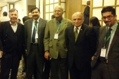 From Left: Ambassador Shafqat Kakakhel (SDPI), Dr. Nagesh Kumar(UNESCAP),Pradeep Mehta (CUTS),Majyd Aziz(KCCI), Ali Khizar (Business Recorder) at a SDPI Conference, Pakistan on December 11, 2014.