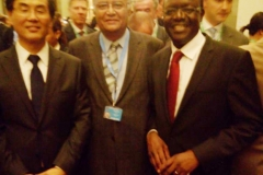 With James Zhan, Director, Investment & Enterprise Divison on his right and Mukhisa Kituyi, Secretary General, UNCTAD on his left after the grand opening of the World Investment Forum 2014 at United Nations Office at Geneva on September 24, 2014