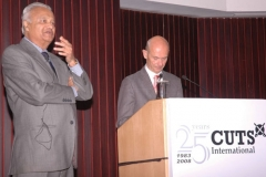 Pradeep S Mehta and Pascal Lamy, Director General, WTO at a function organised by CUTS in NewDelhi on September 06, 2011
