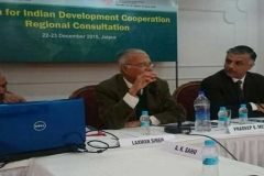 "Speaking at the ""Forum for Indian Development Cooperation Regional Consultation on 22nd December at Jaipur"", organised by the FIDC and RIS. Left: Sachin Chaturvedi of RIS"