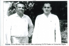 Former Prime Minister Rajiv Gandhi after endorsing CUTS Poster on Consumer Rights